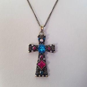 Cross Necklace/Bronze Cross Necklace/Jeweled Cross